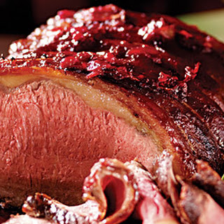 Roast Rib of Beef with Cranberry, Port & Roasted Garlic Glaze