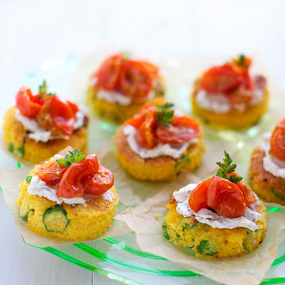 Okra Cornmeal Cakes with Chèvre and Roasted Tomatoes