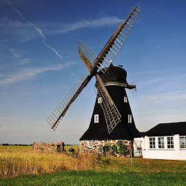 Windmill by Eugenija Seinauskiene - Buildings & Architecture Other Exteriors ( field, sweden, sky, fasade, even, evening, windmill )