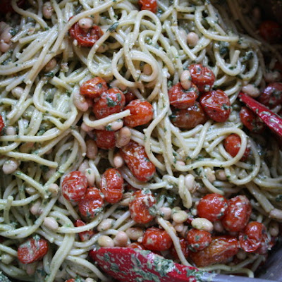 Pesto Pasta with Roasted Tomatoes and White Beans