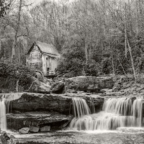 Grist water mill by Jacob Padrul - Black & White Landscapes ( running water, waterfalls, black and white, grist mill, solitude, relaxation, nostalgic, rustic )