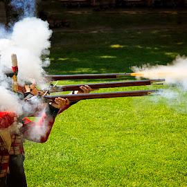 Reenactors at Colonial Fort Michilimackinac  by Don Harper - News & Events Entertainment ( flash, muzzle, firing, uniform, british, reenactors, fort, smoke, military, bird, michigan, musket, don harper, colonial, rifle, zedge,  )