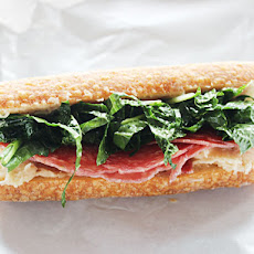 Make-Ahead Salami Sub with White Bean Spread and Kale-Slaw