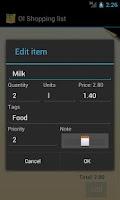 Screenshot of OI Shopping list