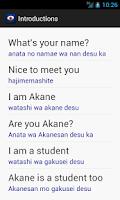 Screenshot of Learn Japanese Phrasebook