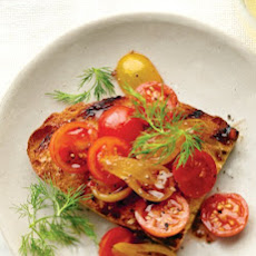 Mixed Tomatoes with Balsamic and Dill Bruschetta