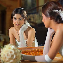 Young Bride by Amin Basyir Supatra - Wedding Bride ( mirror, love, bali, indoor, prewedding, happy, wedding, white, smile )