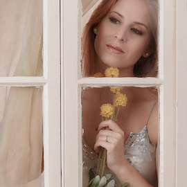 The Lady with the Flower by Astrid Pardew - People Portraits of Women ( photoart by astrid, demure, window, window frame, framed, linda, maiden, flowers, border, portrait,  )