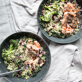 Sesame Seared Wild Salmon Over A Bowl Of Quinoa, Leeks, Kale + Broccoli