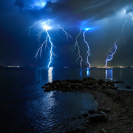 Furious storm  by Davor Strenja - Landscapes Waterscapes ( shore, lightning, sky, thunderstorm, bibinje, blue, croatia, sea, zadar, storm )