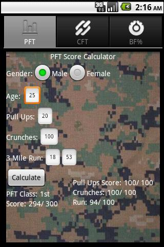 USMC PFT CFT Body Fat Calc