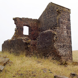 Old ruin. by Esther Van De Belt - Landscapes Prairies, Meadows & Fields ( field, old, window, ruin, meadow, abandoned,  )