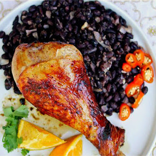 Orange-Beer-Glazed Turkey Drumsticks with Black Beans