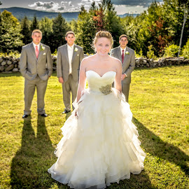 She and the Guys  by Joe Martin - Wedding Bride & Groom ( skyline, wedding, men, bride, groom, filed )
