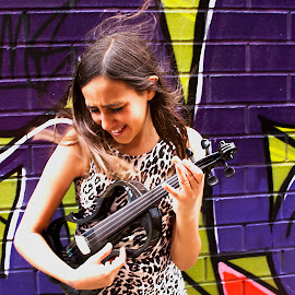 Musician on the loose by Tamara Jacobs - People Musicians & Entertainers ( music, fashion, girl, violin, graffiti, electric, street, musician, wall, city, violinist )