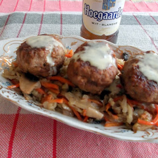 Beer Braised Meatballs and Easy Sauerkraut Served with Mustard Sauce