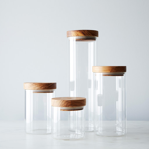 Glass Jars with Wood Lids (Set of 4)