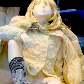 Cable Knit Girl by Ronnie Caplan - Artistic Objects Clothing & Accessories ( blonde, window, store, clothing, reflections, display, shopping, mannequin )