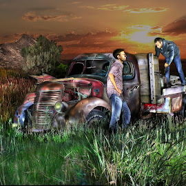 At days end. by Dustin Olsen - Abstract Light Painting ( farm, field, friends, creative, truck, sunset )