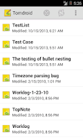 Screenshot of Tomdroid notes
