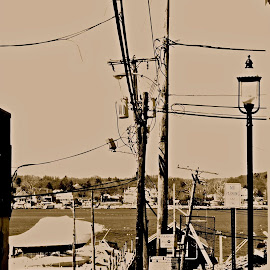 red bank, nj by Denise Zimmerman - City,  Street & Park  Vistas ( vertical lines, pwc )