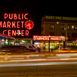 Pikes Place at Night by Bill Kuhn - City,  Street & Park  Markets & Shops ( farmers, pikes place, market, clock, seattle, light trails, long exposure, night, downtown, city )