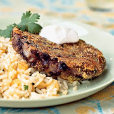 Cuban Black Bean Patties with Pineapple Rice