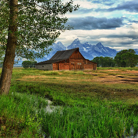 Tranquility Along Mormon Row by Jeff Clow - Landscapes Travel ( holiday, mountains, vacation, nature, barn, wyoming, trees, travel, jackson hole, usa, rural, grand teton national park )