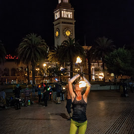ferry building on fire by Armando Vargas - City,  Street & Park  Historic Districts ( ferrybuilding, embarcadero, sanfrancisco, firedancing, sf, light, dance, fire, city, Urban, City, Lifestyle )