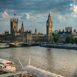 Big Ben by Sheldon Anderson - Buildings & Architecture Public & Historical ( parliament, london eye, london, 2014, sunset, dramatic, scenic, bridge, big ben, river )