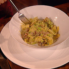 Pappardelle with British sprouts and Italian sausage