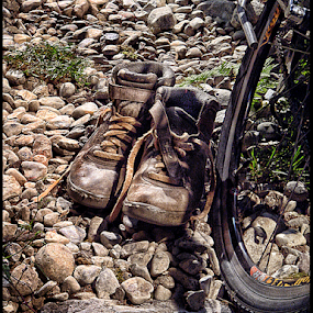 Last Ride by Bonnie Rovere - Artistic Objects Clothing & Accessories ( shoes, bike, brown, stones, bicycle, artistic, object )