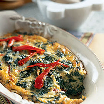Spinach and Roasted Red Pepper Gratin