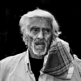 Village man by Gayan Wijesinghe - People Portraits of Men ( wrinkles, face, wrinkle, life, village, poverty, black and white, poor, tired, curves, man,  )