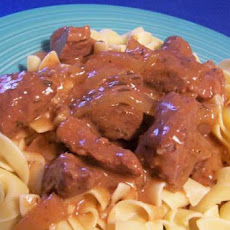 Beef Cubes over Egg Noodles