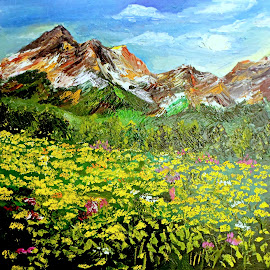 Happiness on mountains roads by Livia Copaceanu - Painting All Painting ( mountain, landscape, painting, oil painting )