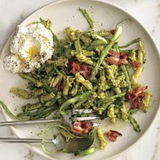 Arugula Pesto Pasta with Ricotta and Bacon
