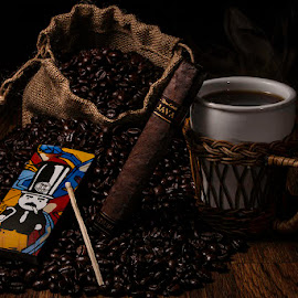 Java Maduro by Mark Davis - Food & Drink Alcohol & Drinks ( cigar, matches, coffee beans, coffee, java )