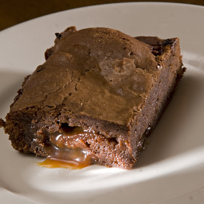 Mocha Brownies with Mocha Caramel Center