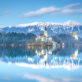 Bled in blue hour.. by Mario Španjić - Landscapes Travel ( bled, lake )