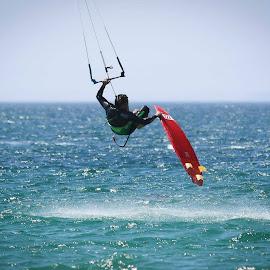 Kite surfing in the air by Jasper Jackson - Sports & Fitness Watersports ( kite surfing, watersports, surfing, kite, windsurfing )