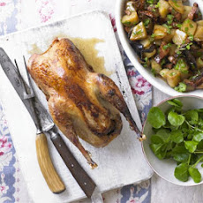 Roast Pheasant With Wild Mushroom, Potato & Bacon Ragout
