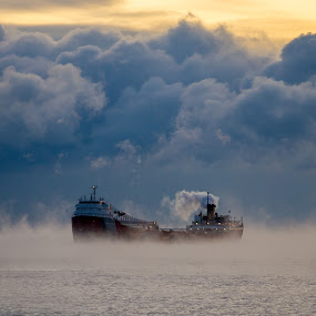 Beating the Storm by Beaver Tripp - Transportation Boats ( shipping, lake superior, storm )