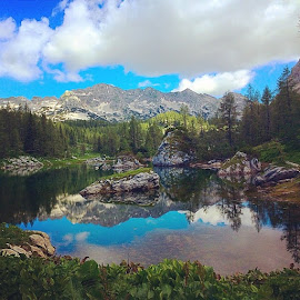 Lake in Alps by T K - Instagram & Mobile iPhone ( water, reflection, mountains, lake, alps )