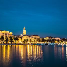 Split Promenade by Stephen Bridger - City,  Street & Park  Neighborhoods ( adriatic, europe, night photography, promenade, croatia, city lights, night, split, travel, night shot, split promenade, travel photography )