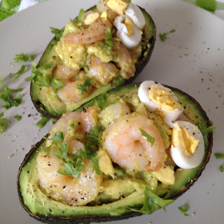 Stuffed Avocado with Garlic Shrimp