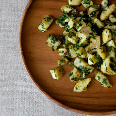 Artichokes and parsley, preserved lemon pesto