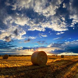 by Zsolt Zsigmond - Landscapes Prairies, Meadows & Fields ( clouds, backlit, hdr, shadow, sunset, hay, bales, cloudscape,  )