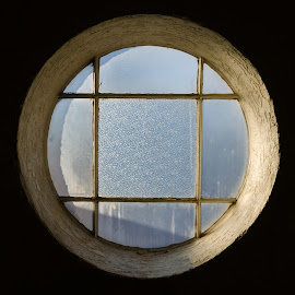 Paned Porthole by Daniel Hopkins - Buildings & Architecture Other Interior ( old, shadow, minimalism, windows, light,  )
