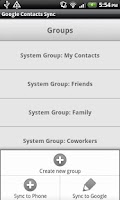 Screenshot of Google Contacts Sync